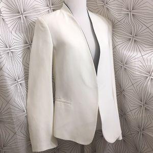 Zara White Blazer with Black inside Neck lining